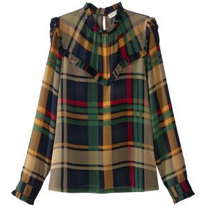 Блузка в клетку с воротником-стойкой SEE U SOON. Цвет: в клетку зеленый/желтый