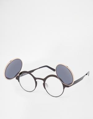 Spitfire Круглые солнцезащитные очки с затемняющими клапанами Techno. Цвет: черный