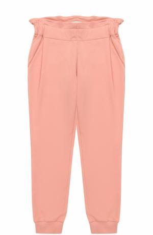 Спортивные брюки с эластичными манжетами и широким поясом Fendi Roma. Цвет: розовый