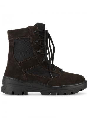 Армейские ботинки на шнуровке Yeezy. Цвет: коричневый
