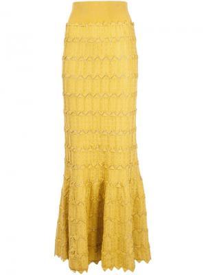 Длинная юбка с воланом Pepa Pombo. Цвет: жёлтый и оранжевый