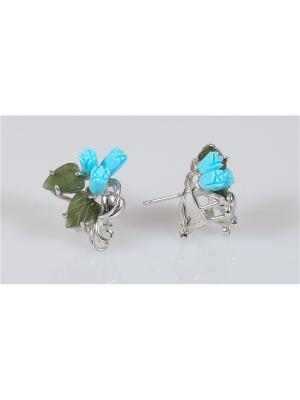 Серьги Lotus Jewelry. Цвет: серебристый, зеленый, синий
