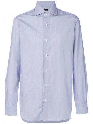 Однотонная рубашка Barba. Цвет: синий