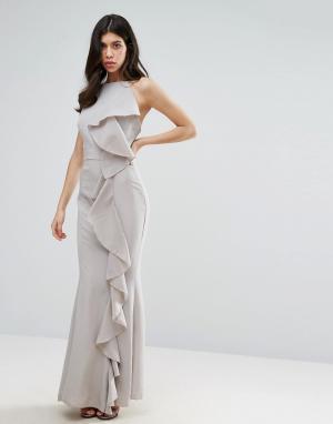 Missguided Платье макси с оборкой. Цвет: серый