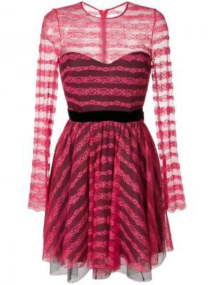 Кружевное платье с бантом Philosophy Di Lorenzo Serafini. Цвет: розовый и фиолетовый