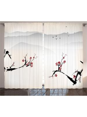 Фотошторы Цветущая сакура на фоне гор, 290*265 см Magic Lady. Цвет: бежевый, красный, черный, серый