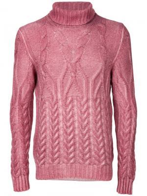 Джемпер с отвортной горловиной La Fileria For Daniello D'aniello. Цвет: розовый и фиолетовый