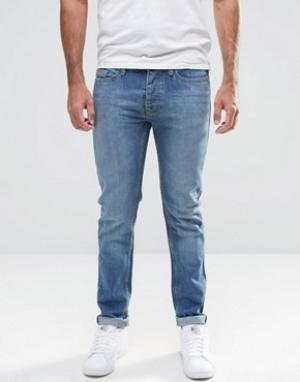 LDN DNM Темные джинсы в винтажном стиле с покрытием. Цвет: синий