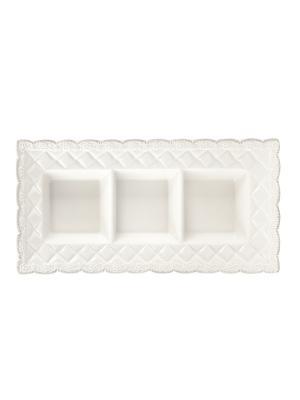 Менажница,  3 секции, 37х18 см Elff Ceramics. Цвет: бежевый