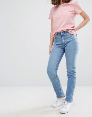 Weekday Джинсы с узкими штанинами и завышенной талией Way. Цвет: синий