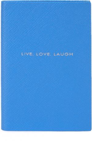 Записная книжка с кожаной обложкой Smythson. Цвет: голубой