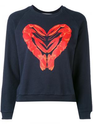 Lobster heart sweatshirt Peter Jensen. Цвет: синий
