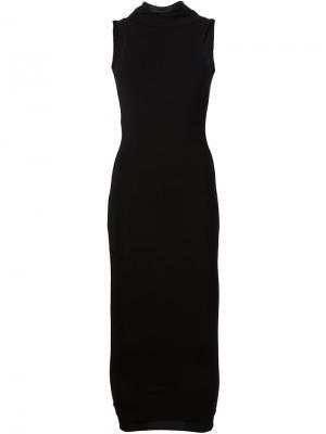 Платье с кожаной окантовкой Urban Zen. Цвет: чёрный