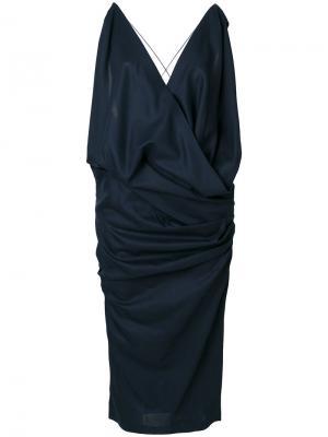 Платье без рукавов с V-образным вырезом Jacquemus. Цвет: синий