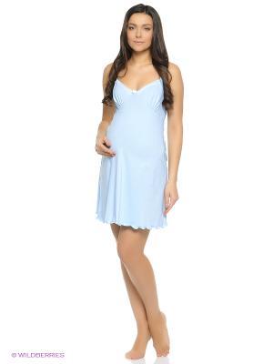Ночная сорочка для беременный и кормящих Hunny Mammy. Цвет: голубой