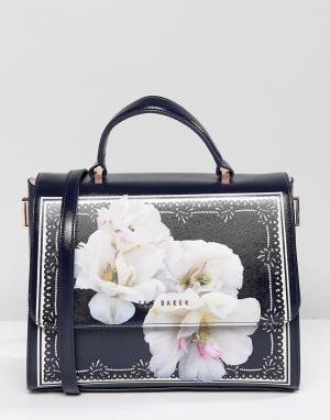 Ted Baker Большая кожаная сумка-тоут с цветочным принтом. Цвет: темно-синий