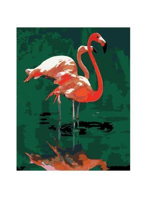 Холст по номерам Розовый фламинго, 50 см КРЕАТТО. Цвет: зеленый, розовый