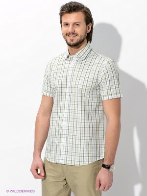 Рубашка MONDIGO. Цвет: белый, зеленый