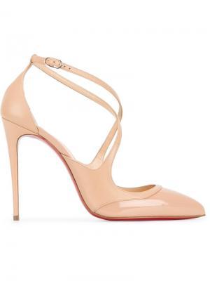 Туфли с тонкими ремешками Christian Louboutin. Цвет: телесный