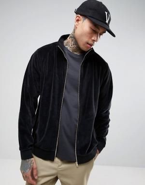 ASOS Черная велюровая спортивная куртка. Цвет: черный