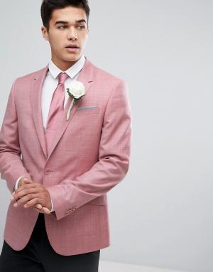 ASOS Розовый блейзер приталенного кроя из 100% шерсти WEDDING. Цвет: розовый