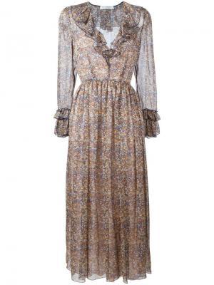 Платье с рюшами Philosophy Di Lorenzo Serafini. Цвет: многоцветный