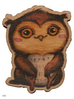 Совенок (деревянный значок в упаковке) Эксмо. Цвет: темно-коричневый