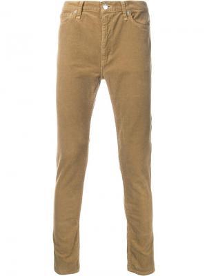 Вельветовые брюки кроя скинни Cityshop. Цвет: коричневый