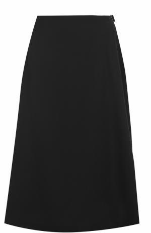 Шерстяная юбка-миди с защипами Yohji Yamamoto. Цвет: черный