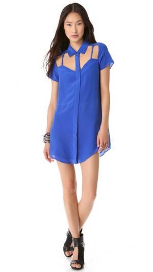 Платье-рубашка Lens с вырезом Funktional. Цвет: голубой