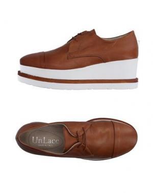 Обувь на шнурках UNLACE. Цвет: желто-коричневый