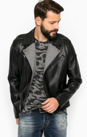 Черная куртка с текстильными вставками Guess. Цвет: черный