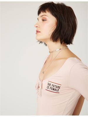 Блузка- боди Jennyfer. Цвет: темно-бежевый