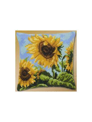 Набор для вышивания лицевой стороны наволочки Подсолнух 40*40см Vervaco. Цвет: желтый, голубой, зеленый, коричневый