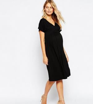 ASOS Maternity Платье миди для беременных с рукавом-бабочкой. Цвет: черный