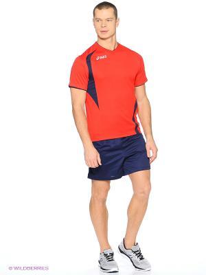 Комплект (футболка + шорты) SET END MAN ASICS. Цвет: синий, красный