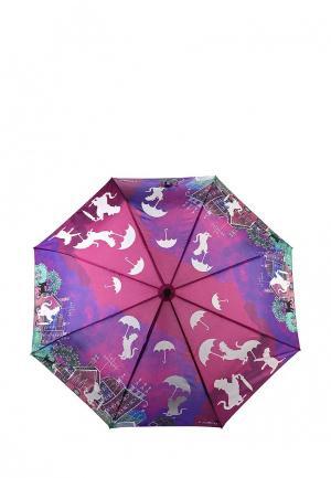 Зонт складной Flioraj. Цвет: фиолетовый