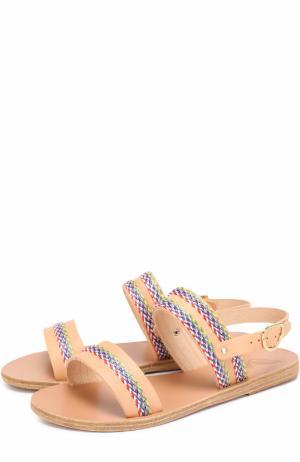 Кожаные сандалии Dinami с декором Ancient Greek Sandals. Цвет: бежевый