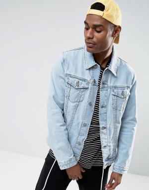 ASOS Светлая джинсовая куртка с рваной отделкой. Цвет: синий