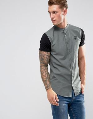 SikSilk Обтягивающая рубашка цвета хаки с трикотажными рукавами. Цвет: серый