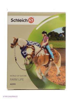 Набор для верховой езды с наездницей пони SCHLEICH. Цвет: бежевый