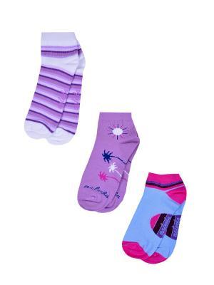 Носки женские,комплект 3шт Malerba. Цвет: сиреневый