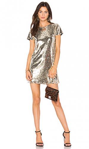 Платье с пайетками soleil Line & Dot. Цвет: металлический золотой