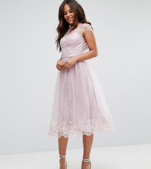 Chi London Tall Платье миди для выпускного. Цвет: коричневый