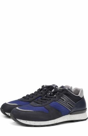 Комбинированные кроссовки на шнуровке Hogan. Цвет: темно-синий