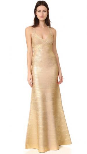 Длинное платье с американской проймой Herve Leger. Цвет: золотой, комбинированный