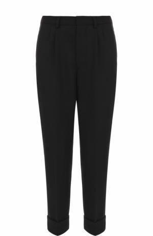 Укороченные брюки прямого кроя с заниженной линией шага Ami. Цвет: черный
