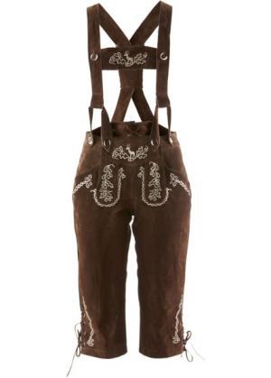 Замшевые брюки с вышивкой и подтяжками (темно-коричневый) bonprix. Цвет: темно-коричневый