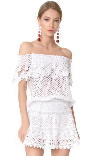 Кружевная блуза с открытыми плечами Temptation Positano. Цвет: белый