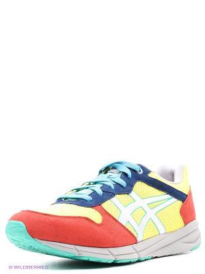 Повседневная спортивная обувь SHAW RUNNER ONITSUKA TIGER. Цвет: желтый, голубой, серебристый